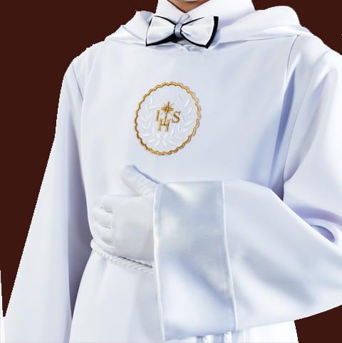 c7f876e8e5 ... Alba komunijna dla chłopców - wykończenie białe ...